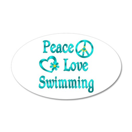 Peace Love Swimming 35x21 Oval Wall Decal