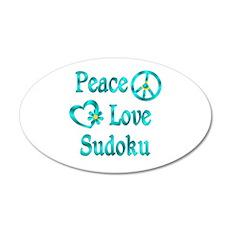 Peace Love Sudoku 20x12 Oval Wall Decal