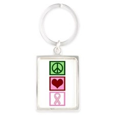 Peace Love Cure (pink) Portrait Keychain