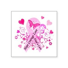 """Pink Ribbon with Love Square Sticker 3"""" x 3"""""""