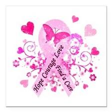 "Pink Ribbon with Love Square Car Magnet 3"" x 3"""