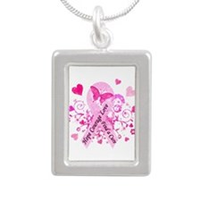 Pink Ribbon with Love Silver Portrait Necklace