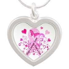 Pink Ribbon with Love Silver Heart Necklace