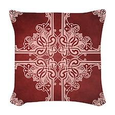 BURGUNDY Woven Throw Pillow