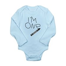 Im One Black Crayon Writing Body Suit