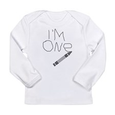 Im One Grey Crayon Writing Long Sleeve T-Shirt