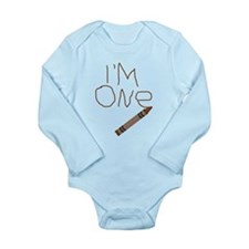Im One Brown Crayon Writing Body Suit
