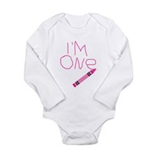 Im One Pink Crayon Writing Body Suit