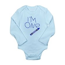Im One Blue Crayon Writing Body Suit