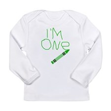 Im One Green Crayon Writing Long Sleeve T-Shirt