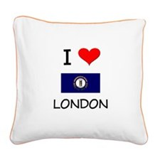 I Love LONDON Kentucky Square Canvas Pillow