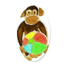 Beachball Monkey Loves the Beach Oval Car Magnet