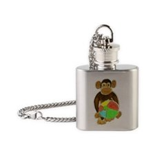 Beachball Monkey Loves the Beach Flask Necklace