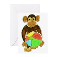 Beachball Monkey Loves the Beach Greeting Card