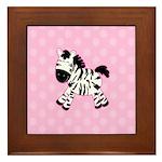 Cute Pink Zebra with Pink Dots Framed Tile