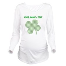 Custom Hatchwork Shamrock Long Sleeve Maternity T-