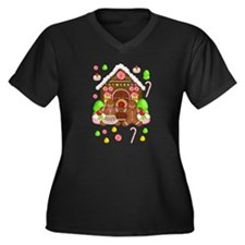Gingerbread Women's Plus Size V-Neck Dark T-Shirt