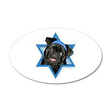 Hanukkah Star of David - Pug 20x12 Oval Wall Decal