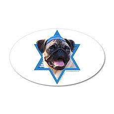 Hanukkah Star of David - Pug 35x21 Oval Wall Decal