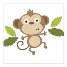 "Baby Monkey Square Car Magnet 3"" x 3"""
