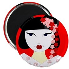 Cute Geisha Girl Red with Pink Flowers Magnets