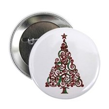 "Christmas Plaid Swirly Tree 2.25"" Button"