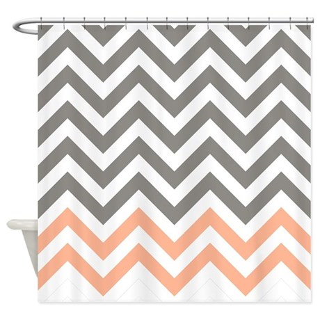 Gray And Light Orange Chevrons 1 Shower Curtain By FamilyFunShoppe