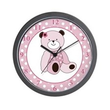 Sugar Cookie Pink Teddy Bear Wall Clock