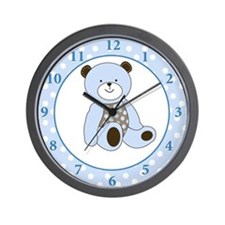 Sugar Cookie Bear Wall Clock - Blue