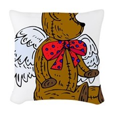 Red Bow Angel Teddy Bear Woven Throw Pillow