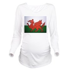 Welsh Flag Long Sleeve Maternity T-Shirt
