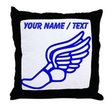 Custom Blue Winged Running Shoe Throw Pillow