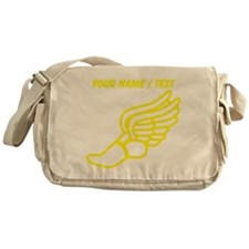 Custom Yellow Winged Running Shoe Messenger Bag