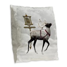 North Pole 2 Burlap Throw Pillow