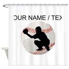 Custom Baseball Catcher Silhouette Shower Curtain