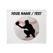 Custom Baseball Catcher Silhouette Throw Blanket