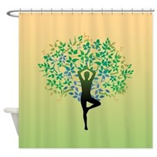Yoga Tree Pose Shower Curtain
