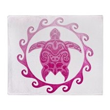 Pink Turtle Sun Throw Blanket