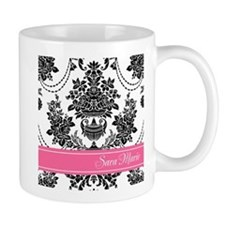 Damask Pink Stripe Mugs