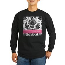 Damask Pink Stripe Long Sleeve T-Shirt