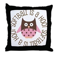 Softball Is A Hoot Throw Pillow