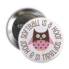 "Softball Is A Hoot 2.25"" Button"