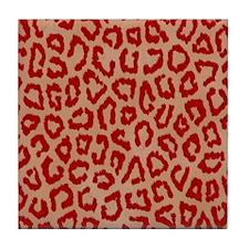 Red Leopard Print Art Tile Coaster
