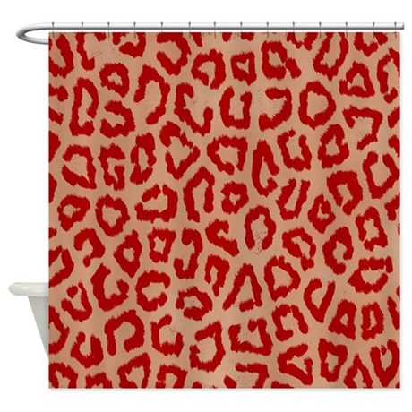 Red leopard print art animal spots pattern zoo wil bathroom decor red