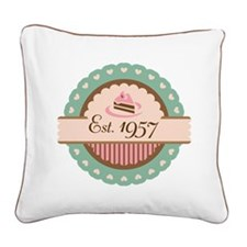 1957 Birth Year Birthday Square Canvas Pillow