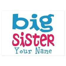 Personalized Big Sister 5x7 Flat Cards