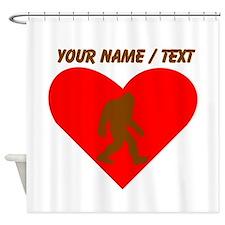 Custom Bigfoot Heart Shower Curtain