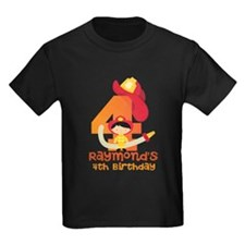 Personalized 4th Birthday Fireman T-Shirt