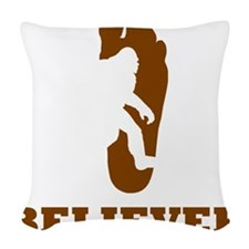 Bigfoot Believer Woven Throw Pillow