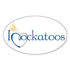 I Heart Cockatoos Oval Decal